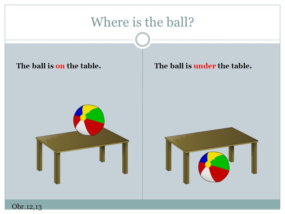 Where is the ball The ball is on the table.