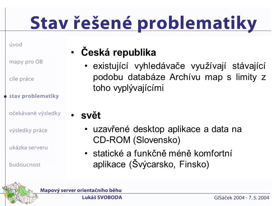Česká republika existující vyhledávače využívají stávající podobu databáze Archívu map s limity z toho vyplývajícími.