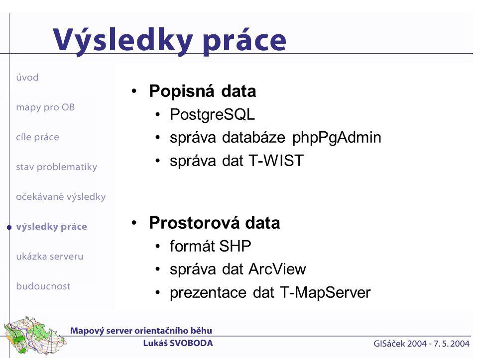 Popisná data Prostorová data PostgreSQL správa databáze phpPgAdmin