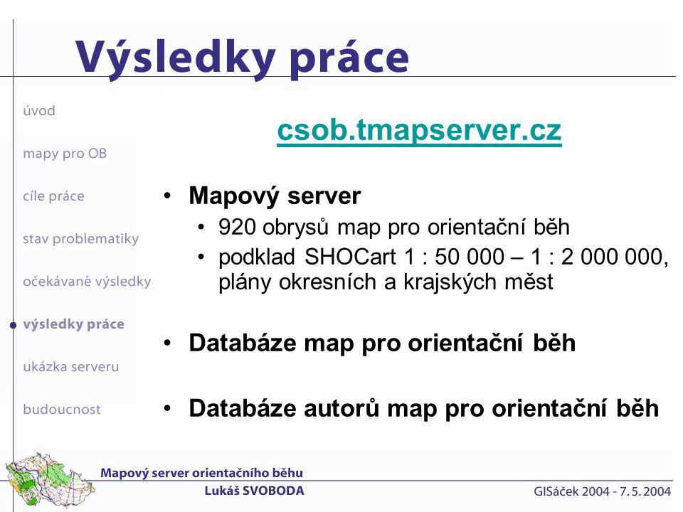 csob.tmapserver.cz Mapový server Databáze map pro orientační běh