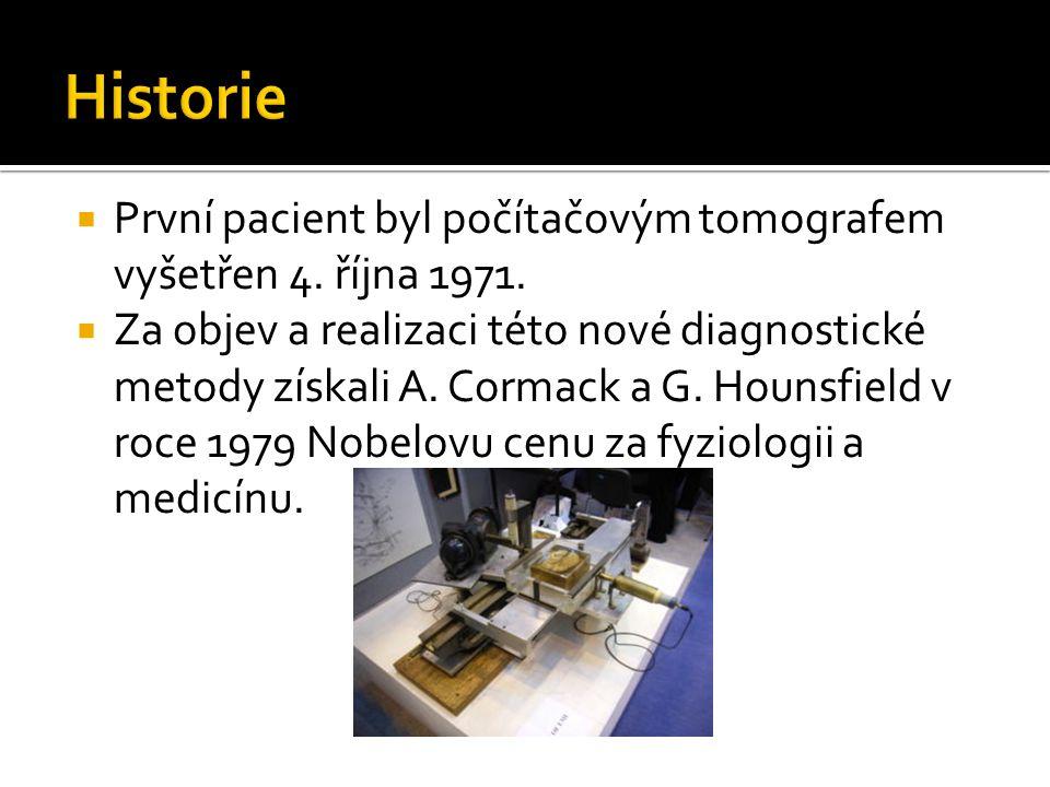 Historie První pacient byl počítačovým tomografem vyšetřen 4. října 1971.