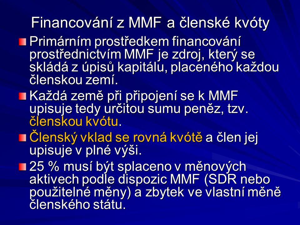 Financování z MMF a členské kvóty