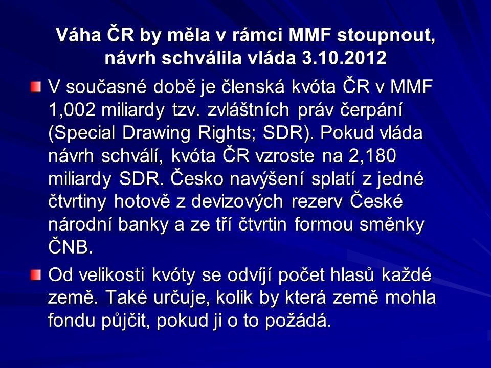 Váha ČR by měla v rámci MMF stoupnout, návrh schválila vláda 3.10.2012