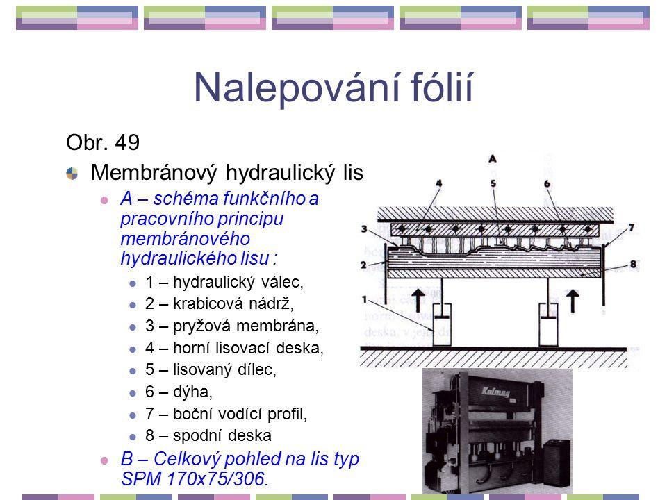 Nalepování fólií Obr. 49 Membránový hydraulický lis