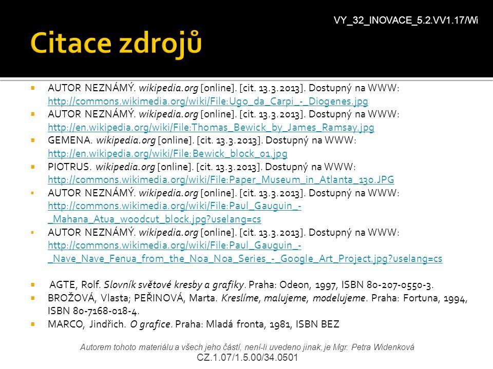 Citace zdrojů VY_32_INOVACE_5.2.VV1.17/Wi.