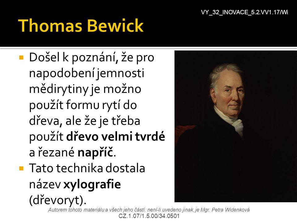 Thomas Bewick VY_32_INOVACE_5.2.VV1.17/Wi.