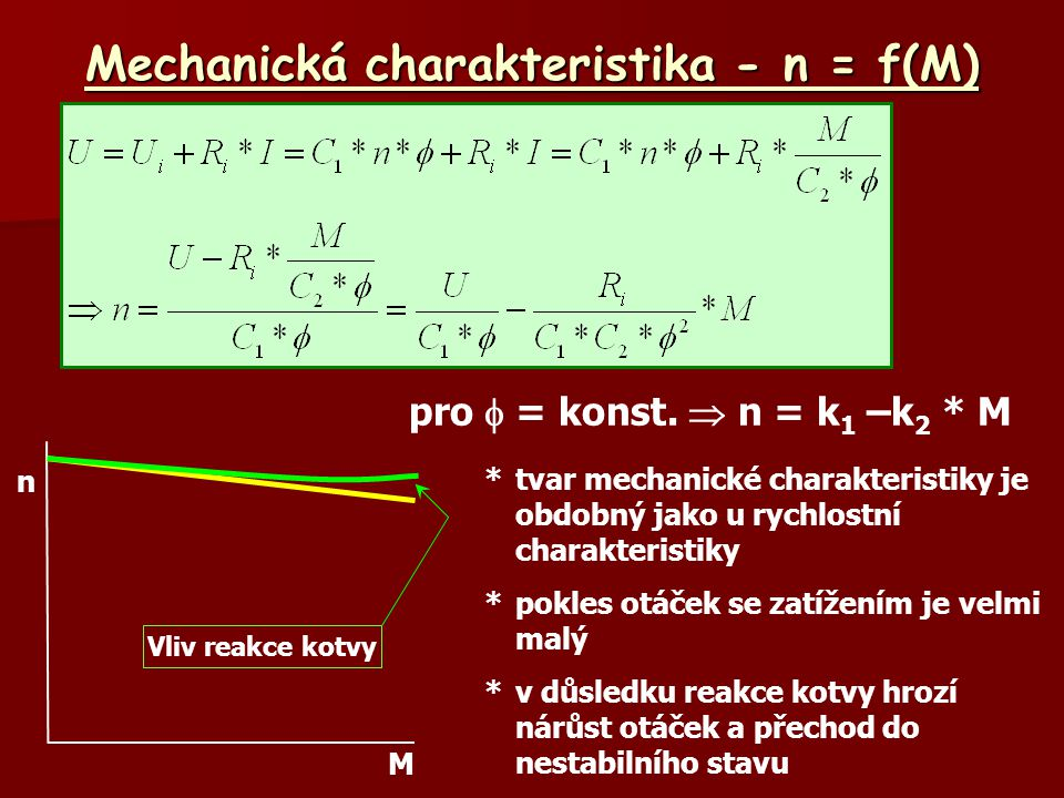 Mechanická charakteristika - n = f(M)