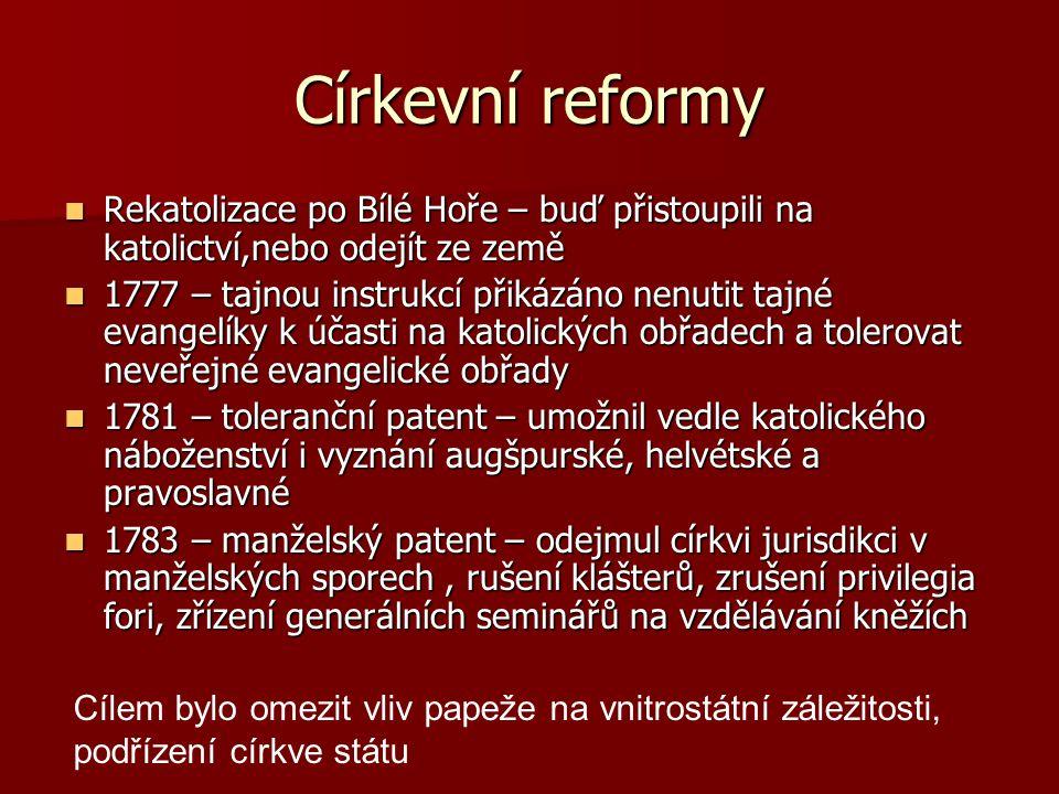 Církevní reformy Rekatolizace po Bílé Hoře – buď přistoupili na katolictví,nebo odejít ze země.
