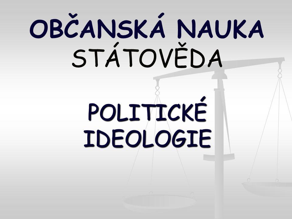OBČANSKÁ NAUKA STÁTOVĚDA POLITICKÉ IDEOLOGIE