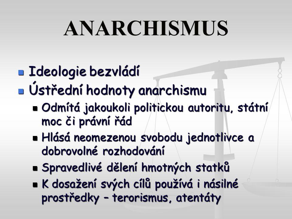 ANARCHISMUS Ideologie bezvládí Ústřední hodnoty anarchismu