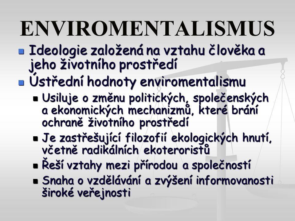 ENVIROMENTALISMUS Ideologie založená na vztahu člověka a jeho životního prostředí. Ústřední hodnoty enviromentalismu.