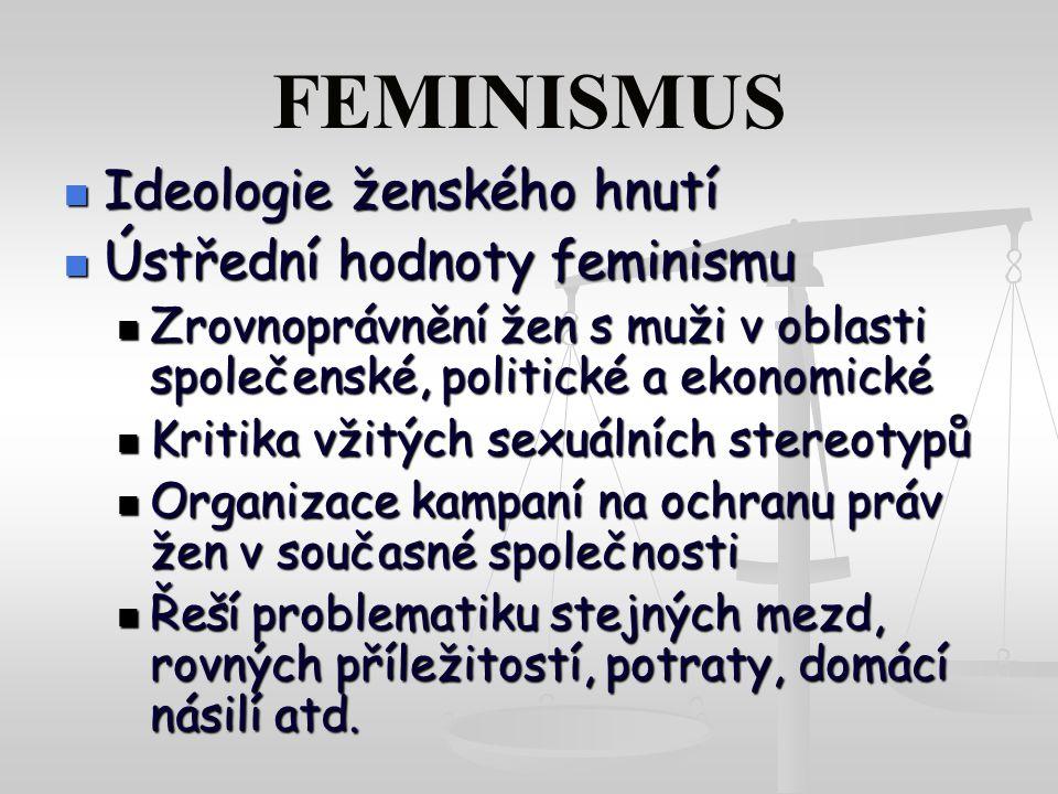 FEMINISMUS Ideologie ženského hnutí Ústřední hodnoty feminismu