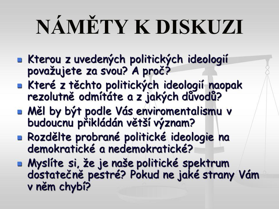 NÁMĚTY K DISKUZI Kterou z uvedených politických ideologií považujete za svou A proč