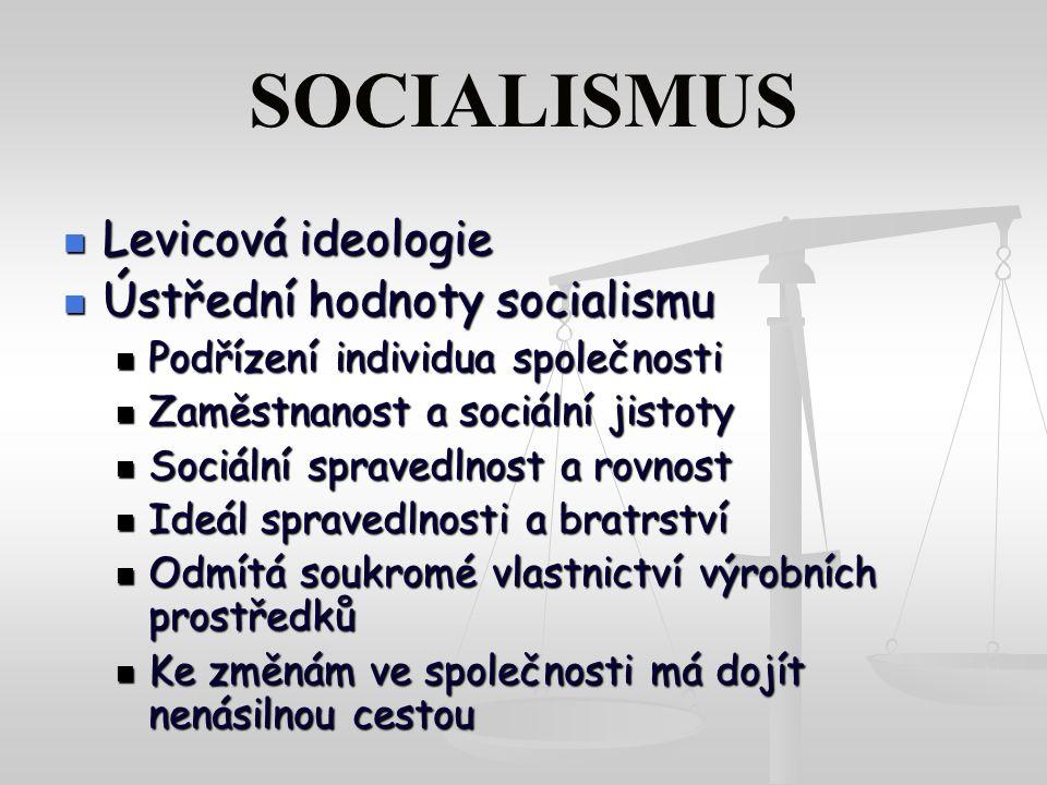 SOCIALISMUS Levicová ideologie Ústřední hodnoty socialismu