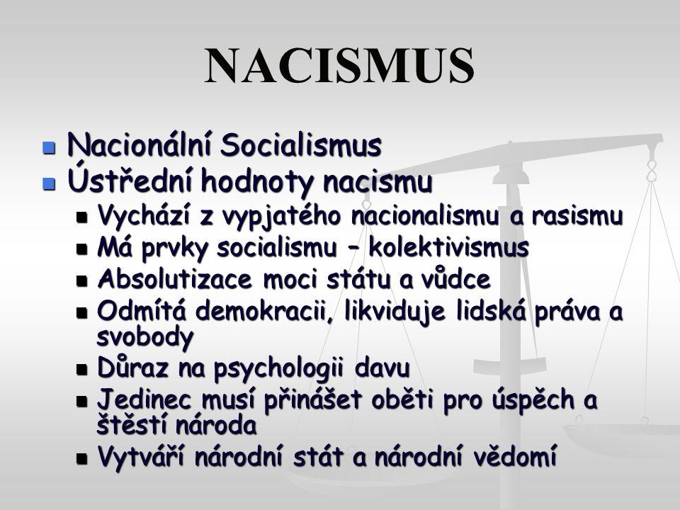 NACISMUS Nacionální Socialismus Ústřední hodnoty nacismu