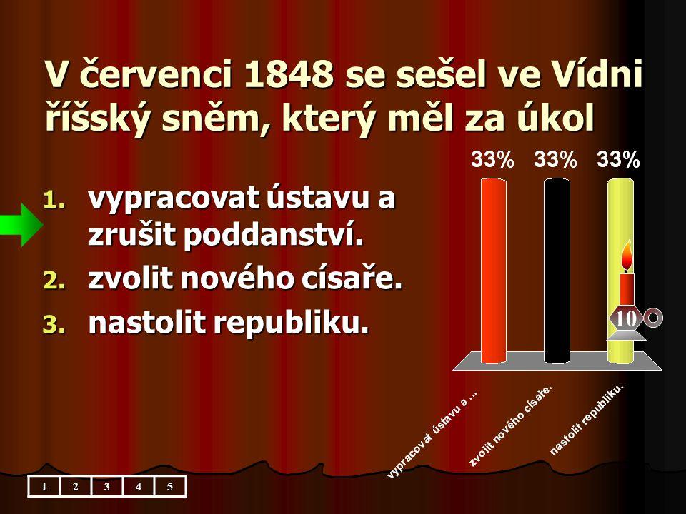 V červenci 1848 se sešel ve Vídni říšský sněm, který měl za úkol