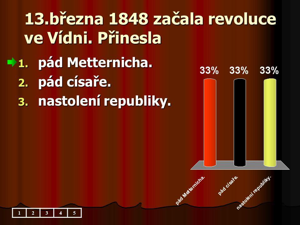13.března 1848 začala revoluce ve Vídni. Přinesla