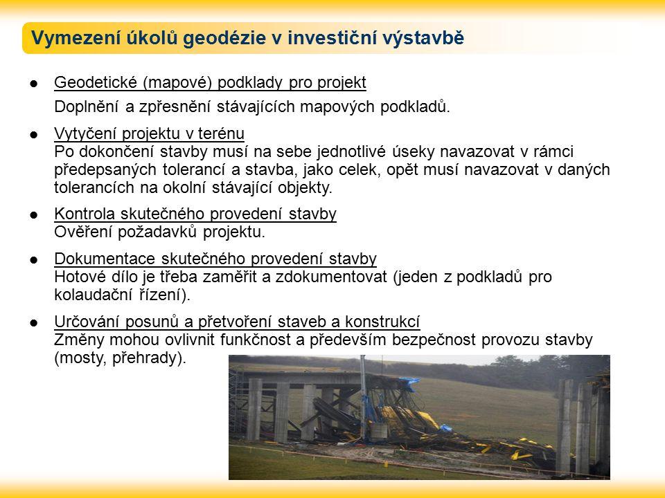 Vymezení úkolů geodézie v investiční výstavbě