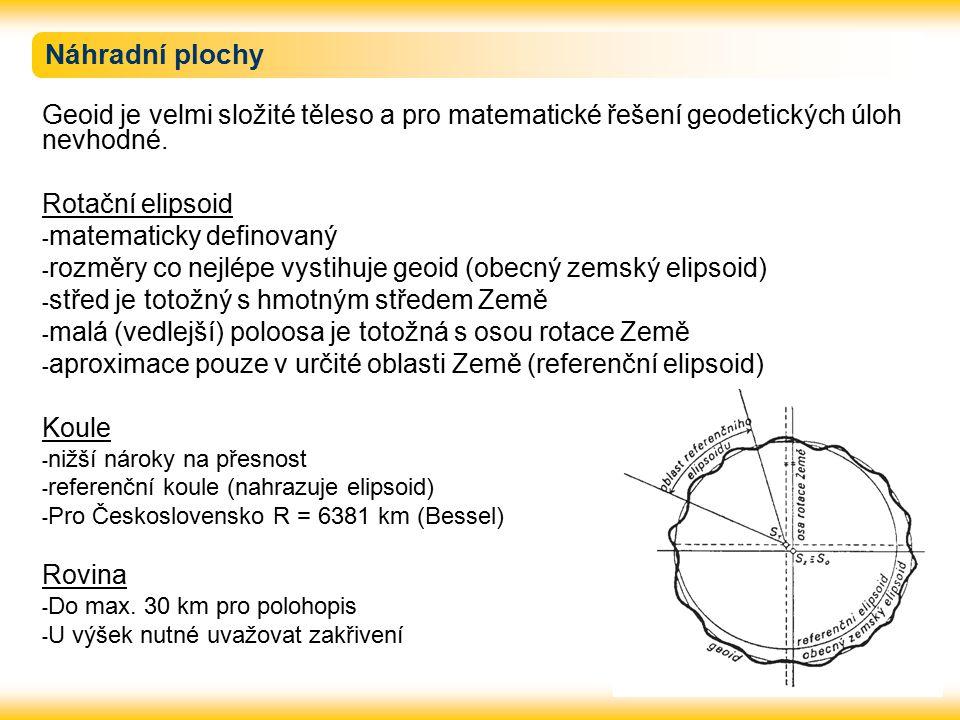 Náhradní plochy Geoid je velmi složité těleso a pro matematické řešení geodetických úloh nevhodné. Rotační elipsoid.