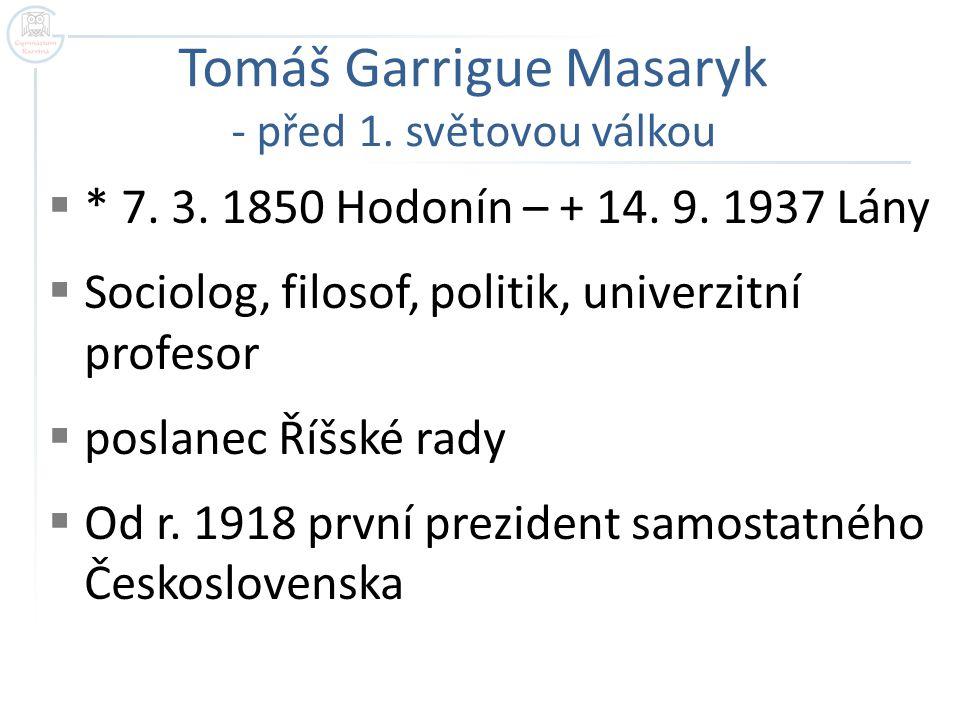 Tomáš Garrigue Masaryk - před 1. světovou válkou