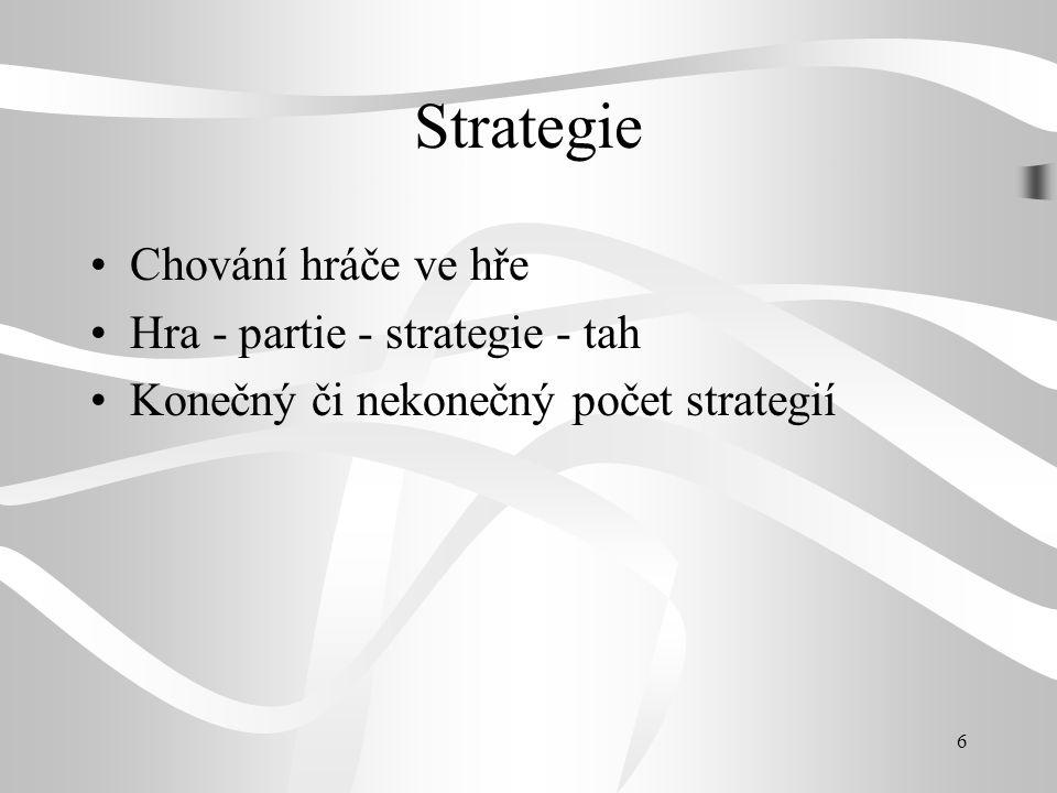 Strategie Chování hráče ve hře Hra - partie - strategie - tah