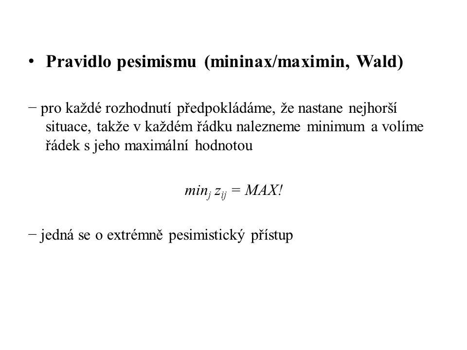 Pravidlo pesimismu (mininax/maximin, Wald)