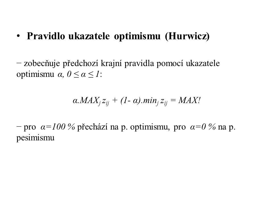 α.MAXj zij + (1- α).minj zij = MAX!