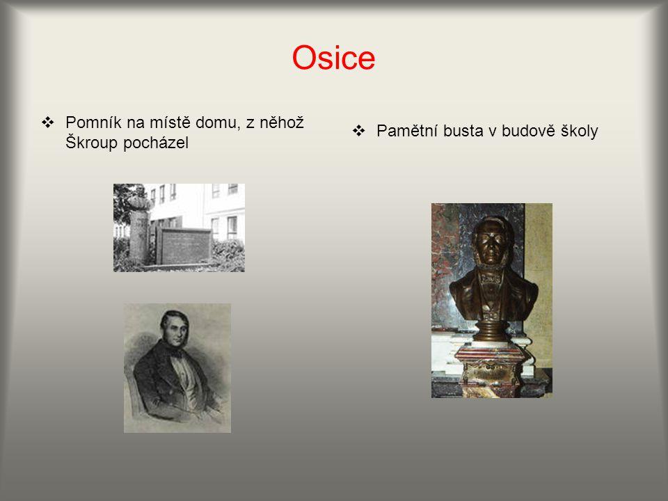 Osice Pomník na místě domu, z něhož Škroup pocházel
