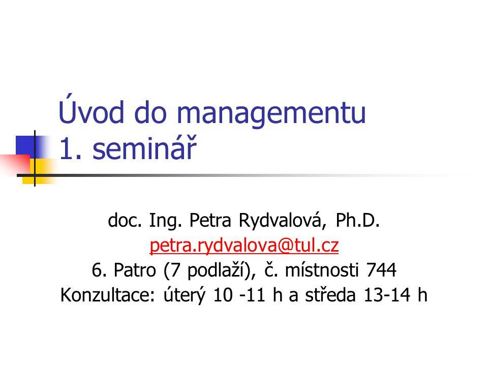 Úvod do managementu 1. seminář