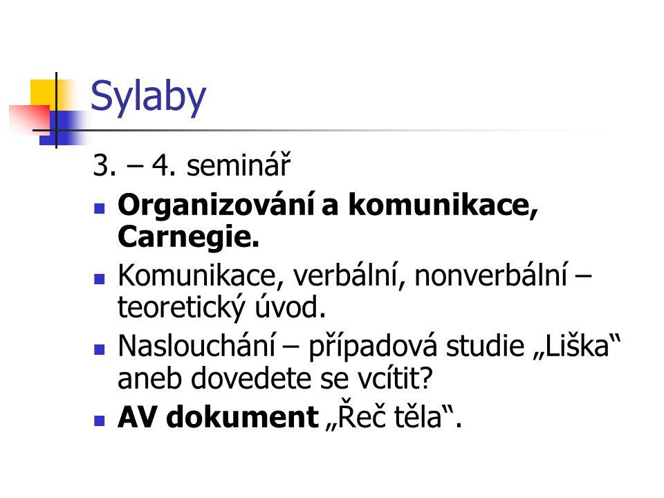 Sylaby 3. – 4. seminář Organizování a komunikace, Carnegie.