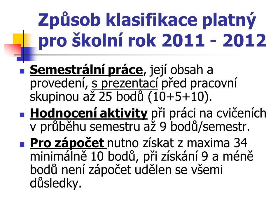 Způsob klasifikace platný pro školní rok 2011 - 2012