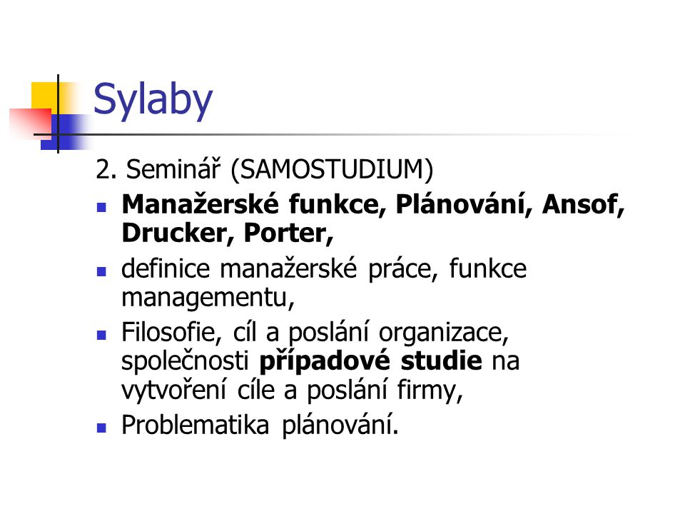 Sylaby 2. Seminář (SAMOSTUDIUM)