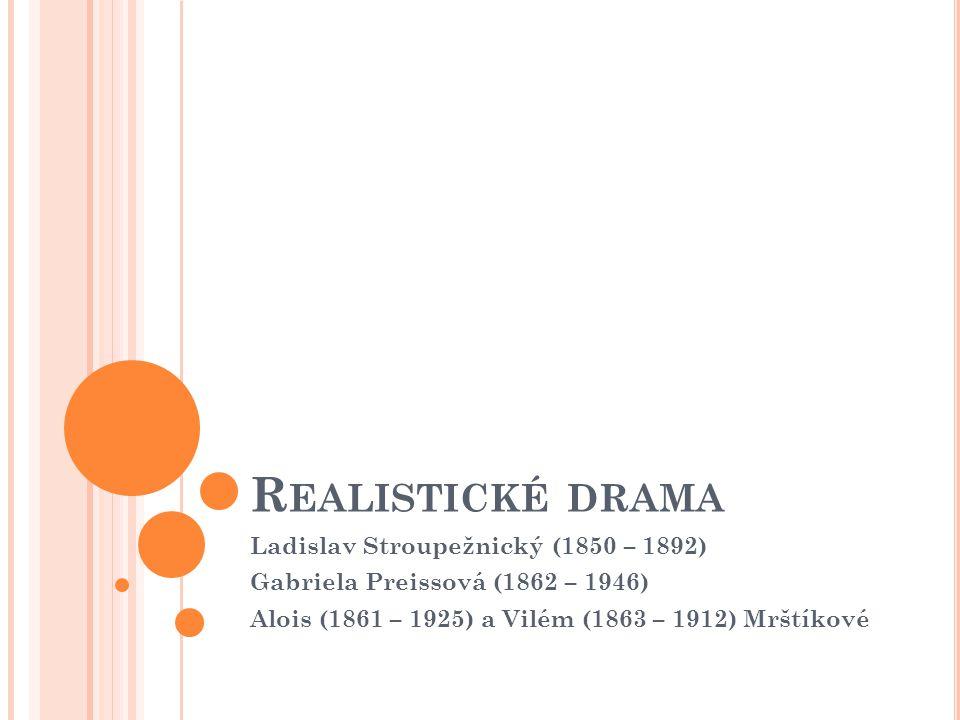 Realistické drama Ladislav Stroupežnický (1850 – 1892)