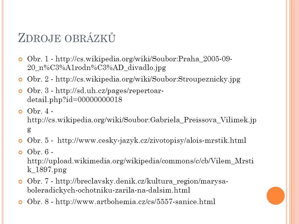 Zdroje obrázků Obr. 1 - http://cs.wikipedia.org/wiki/Soubor:Praha_2005-09- 20_n%C3%A1rodn%C3%AD_divadlo.jpg.