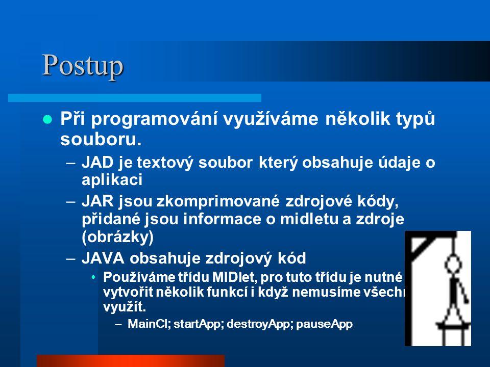 Postup Při programování využíváme několik typů souboru.