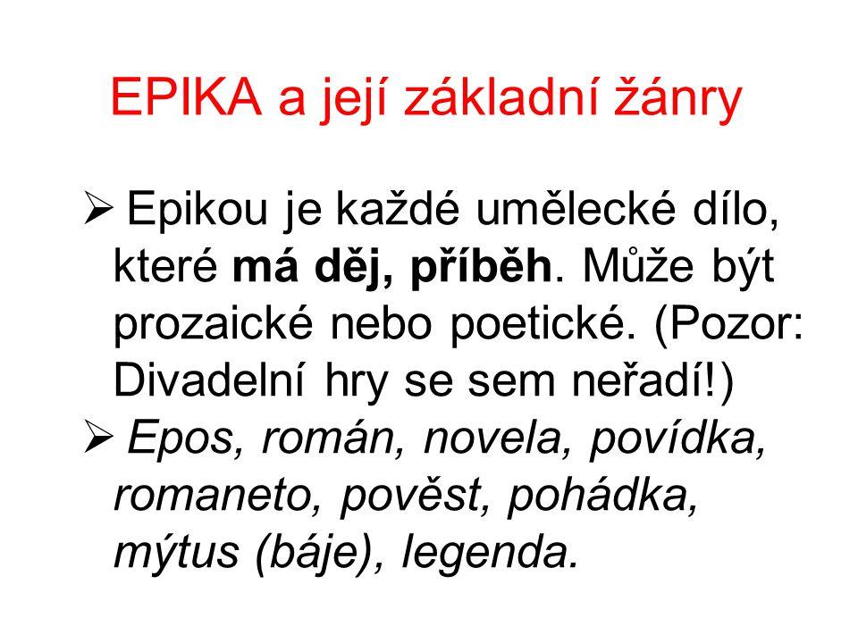 EPIKA a její základní žánry