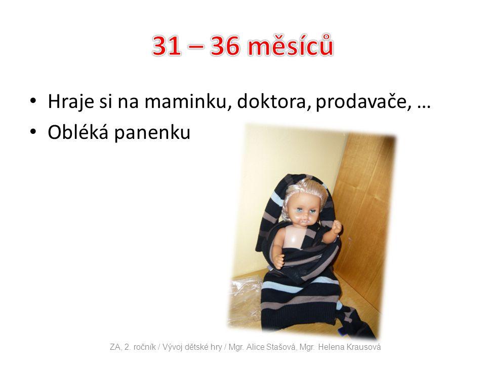 31 – 36 měsíců Hraje si na maminku, doktora, prodavače, …