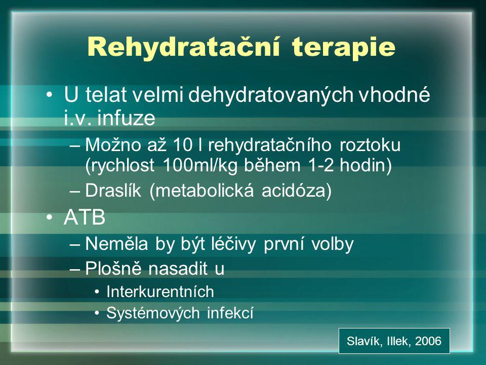 Rehydratační terapie U telat velmi dehydratovaných vhodné i.v. infuze
