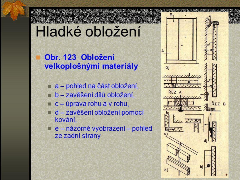 Hladké obložení Obr. 123 Obložení velkoplošnými materiály