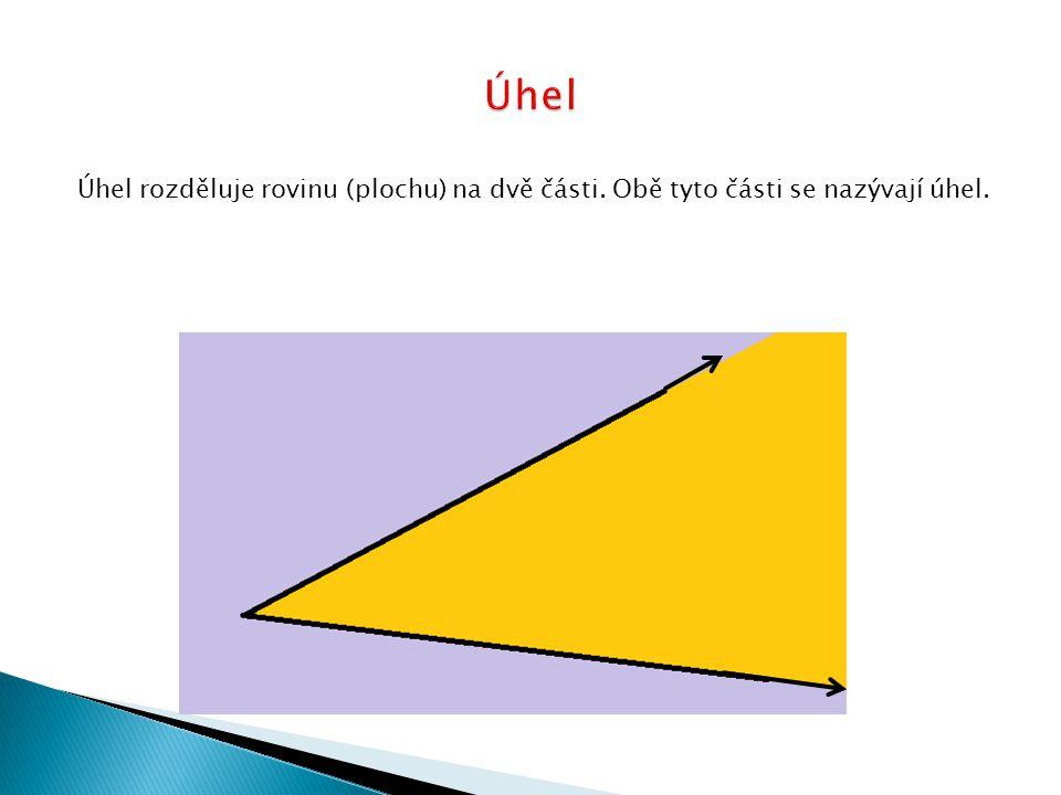 Úhel Úhel rozděluje rovinu (plochu) na dvě části. Obě tyto části se nazývají úhel.