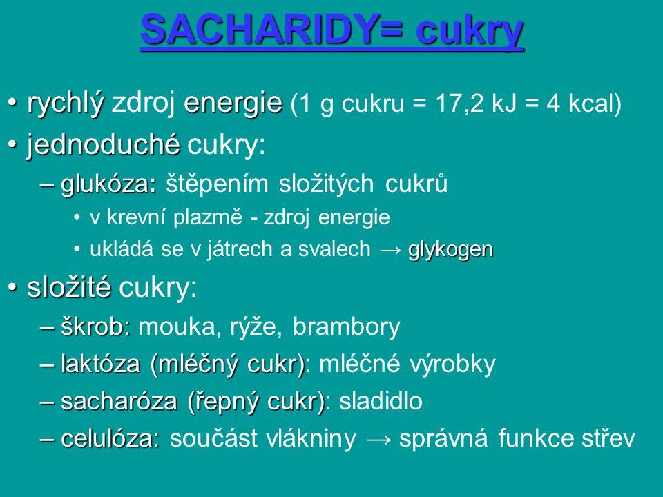 SACHARIDY= cukry rychlý zdroj energie (1 g cukru = 17,2 kJ = 4 kcal)