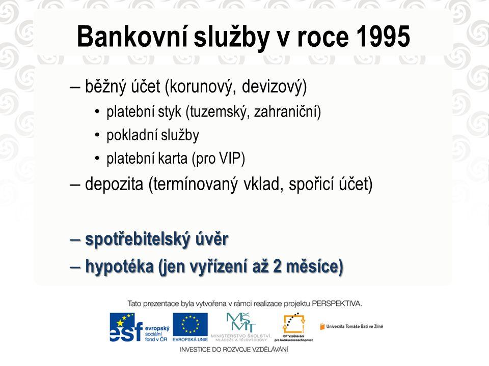 Bankovní služby v roce 1995 běžný účet (korunový, devizový)