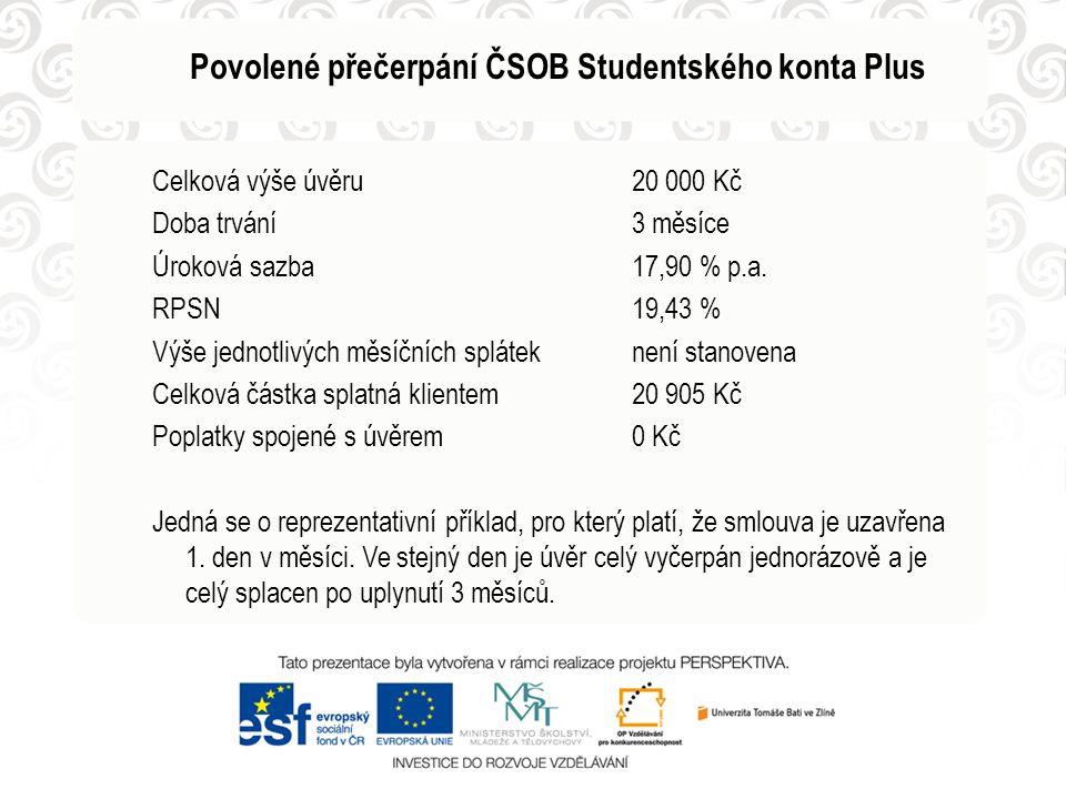 Povolené přečerpání ČSOB Studentského konta Plus