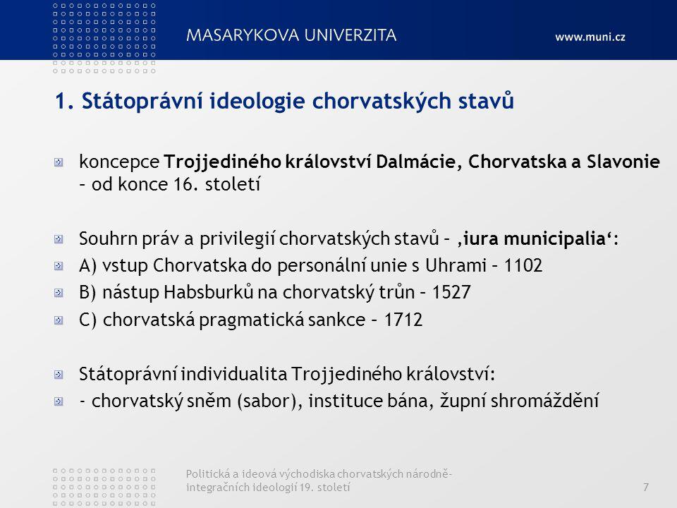1. Státoprávní ideologie chorvatských stavů