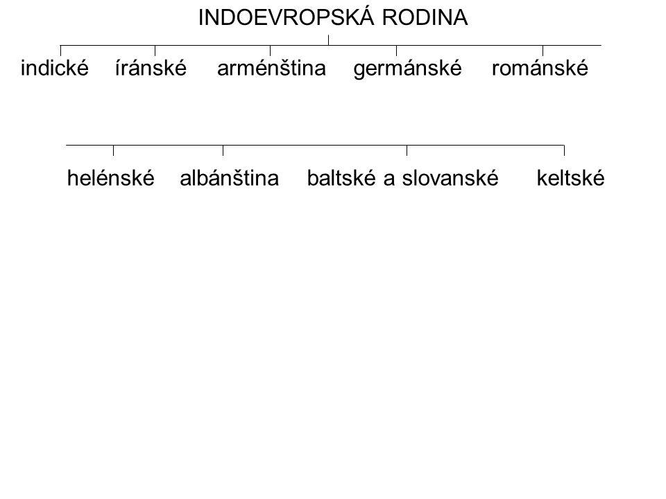 INDOEVROPSKÁ RODINA indické. íránské. arménština. germánské. románské. helénské. albánština. baltské a slovanské.