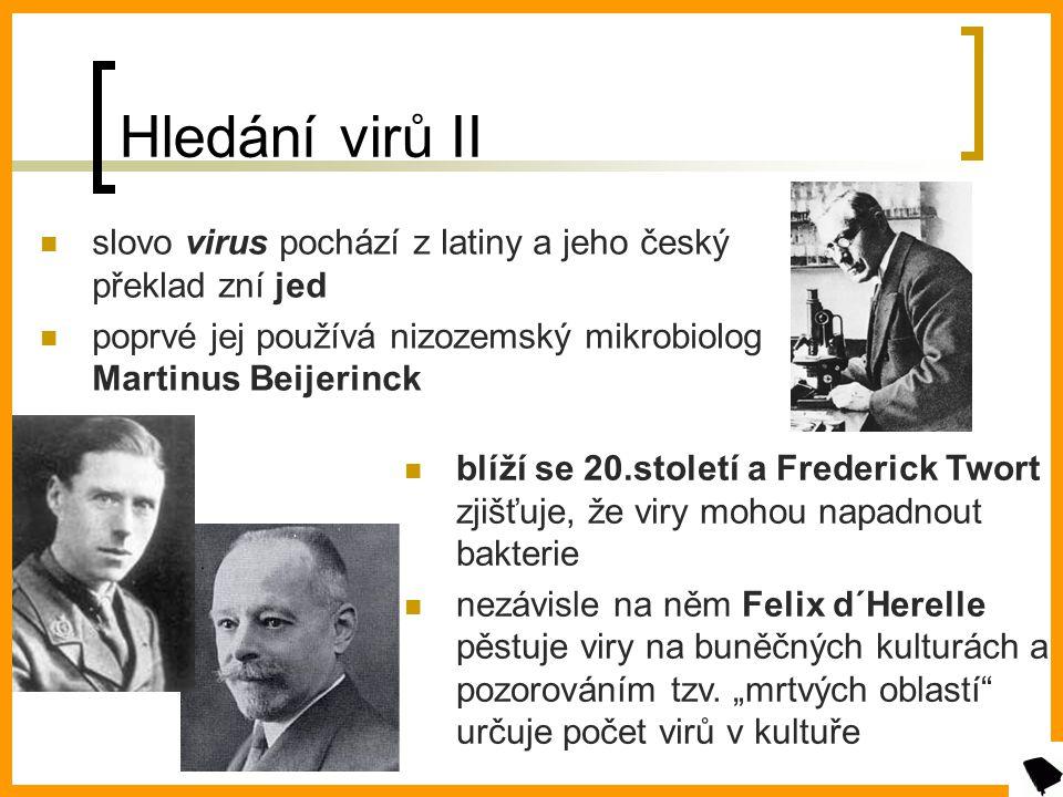 Hledání virů II slovo virus pochází z latiny a jeho český překlad zní jed. poprvé jej používá nizozemský mikrobiolog Martinus Beijerinck.