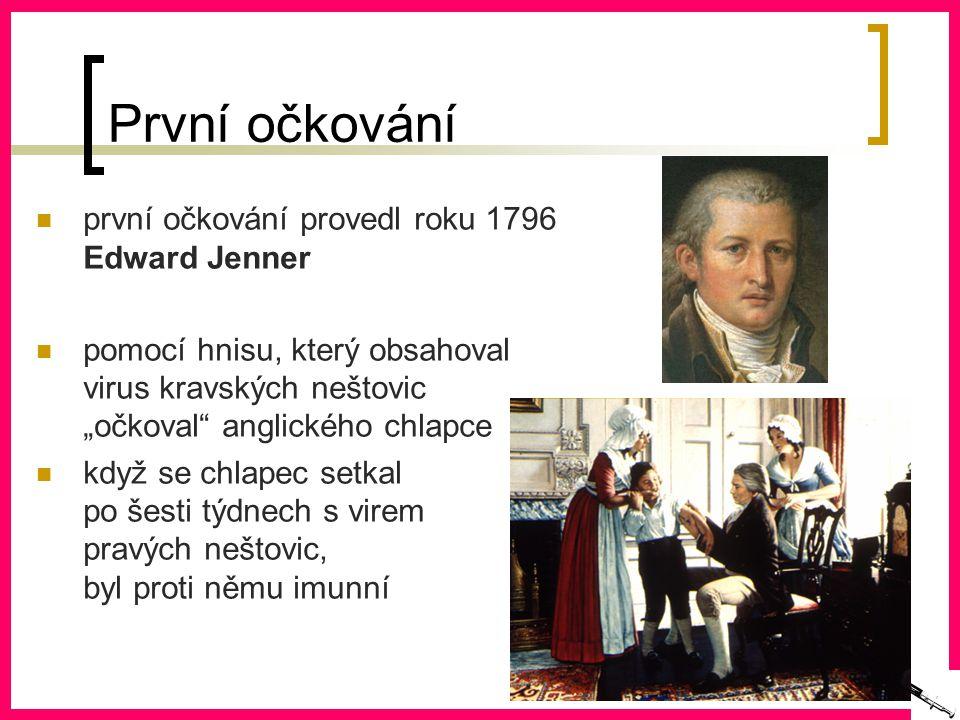 První očkování první očkování provedl roku 1796 Edward Jenner