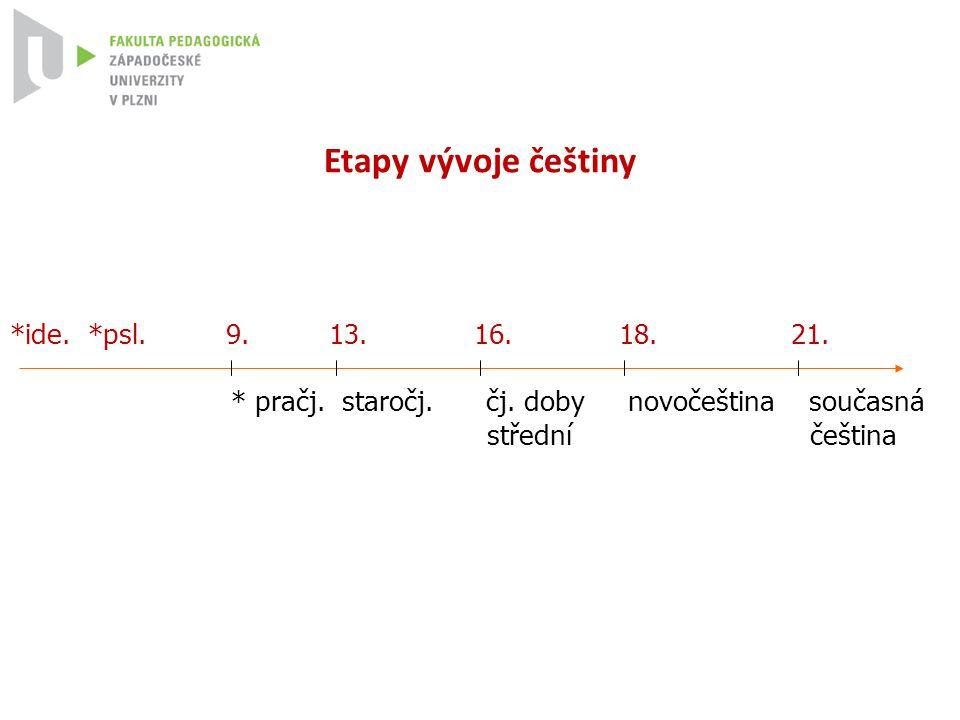 Etapy vývoje češtiny *ide. *psl. 9. 13. 16. 18. 21.