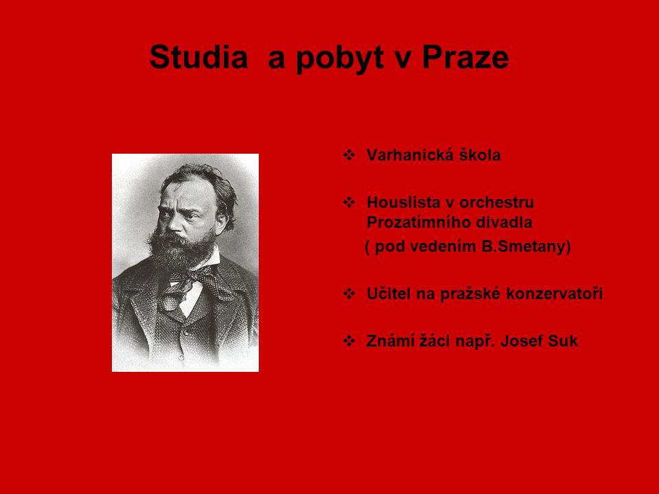 Studia a pobyt v Praze Varhanická škola