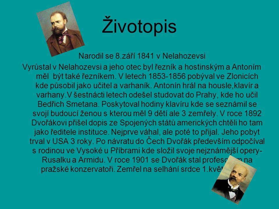 Narodil se 8.září 1841 v Nelahozevsi